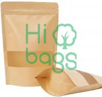 Brown paper bags with window Zipper lock pocket M