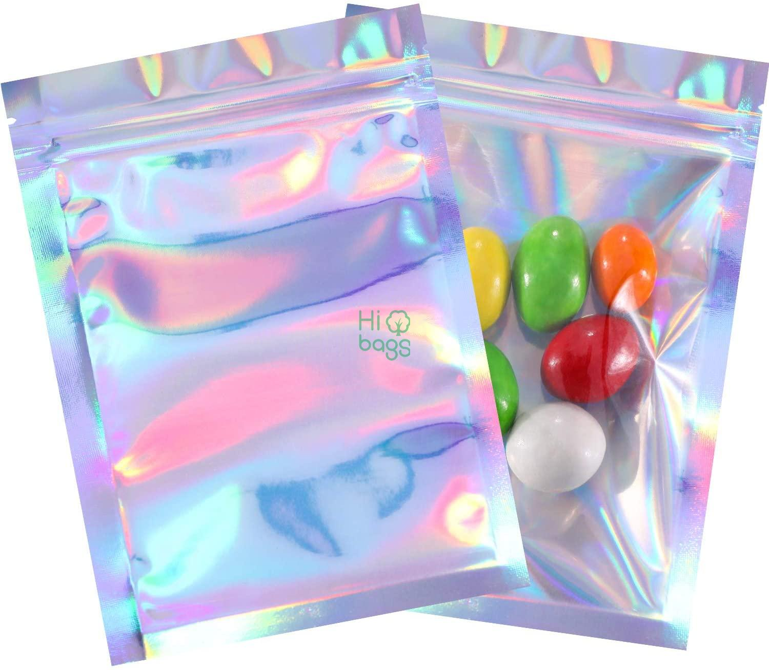 Holographic Color Party Favor Food Resealable Smell Foil Pouch Flat Storage Bag M