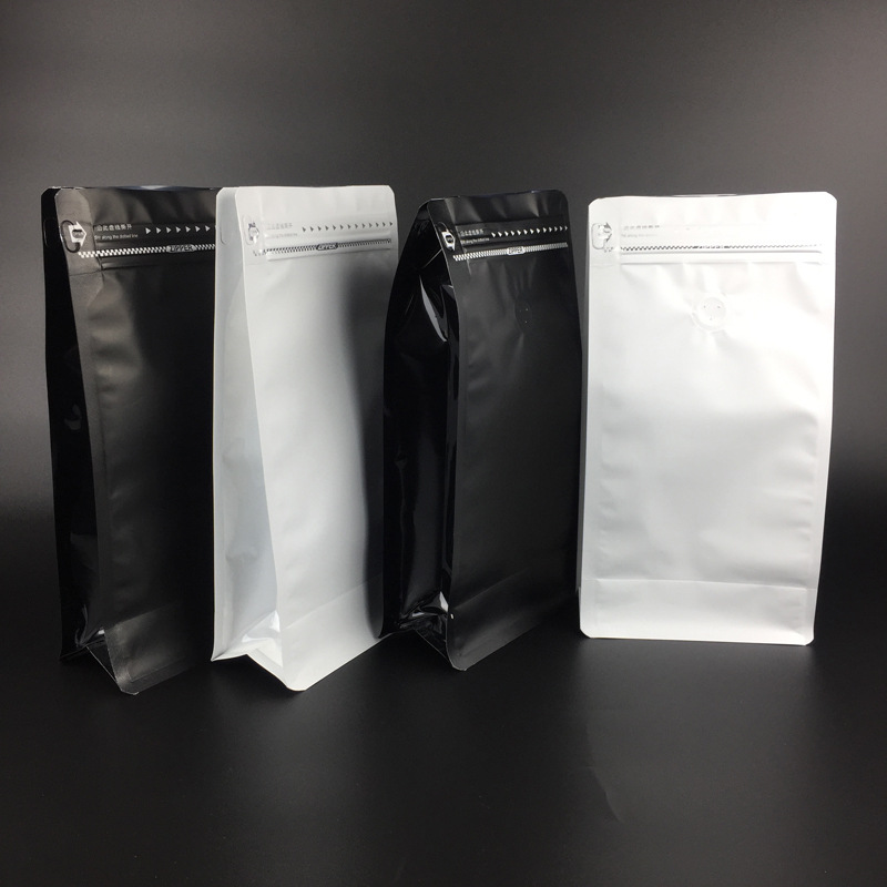Easily tear zipper eight-sided coffee bean aluminum foil self-sealing bag oatmeal milk powder food plastic packaging bag