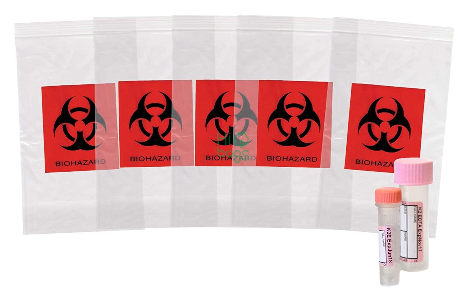 Biohazard Specimen Bags Black and Red  Zip Lock Top Plastic Pouch Bags Printed Polyethylene Transport Bags M