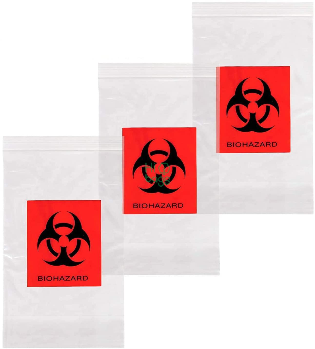 Biohazard Specimen Bags, Black and Red  Zip Lock Top Plastic Pouch Bags M
