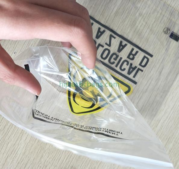 Customized Biohazard Symbol Clear Specimen Bags