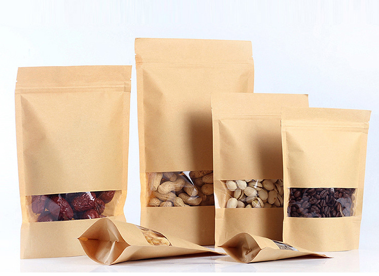 High transparent window kraft paper bag nut food stand up pouch packing bag