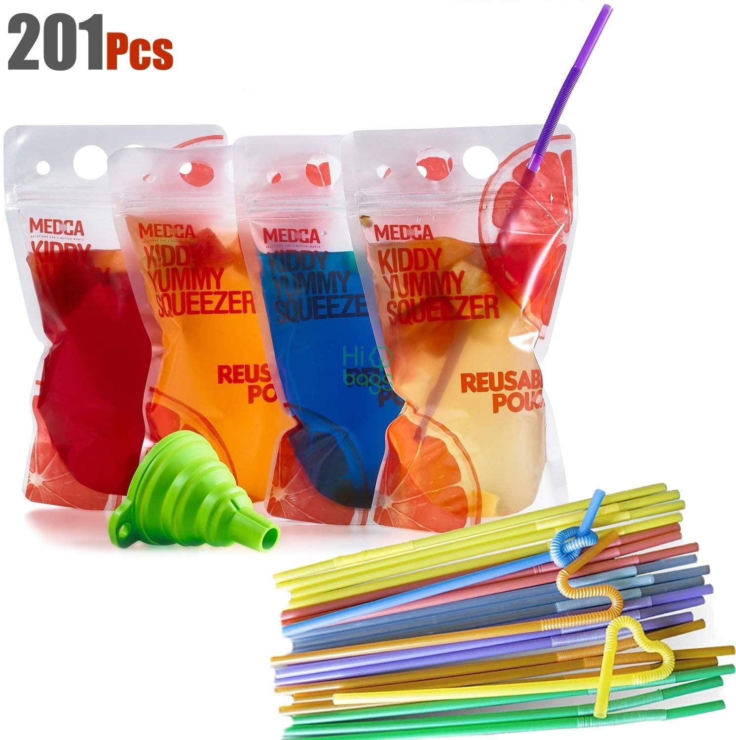 Reusable Drink Pouches Double Zipper Reusable Smoothie Juice Clear Zipper Pouch Storage Bags M