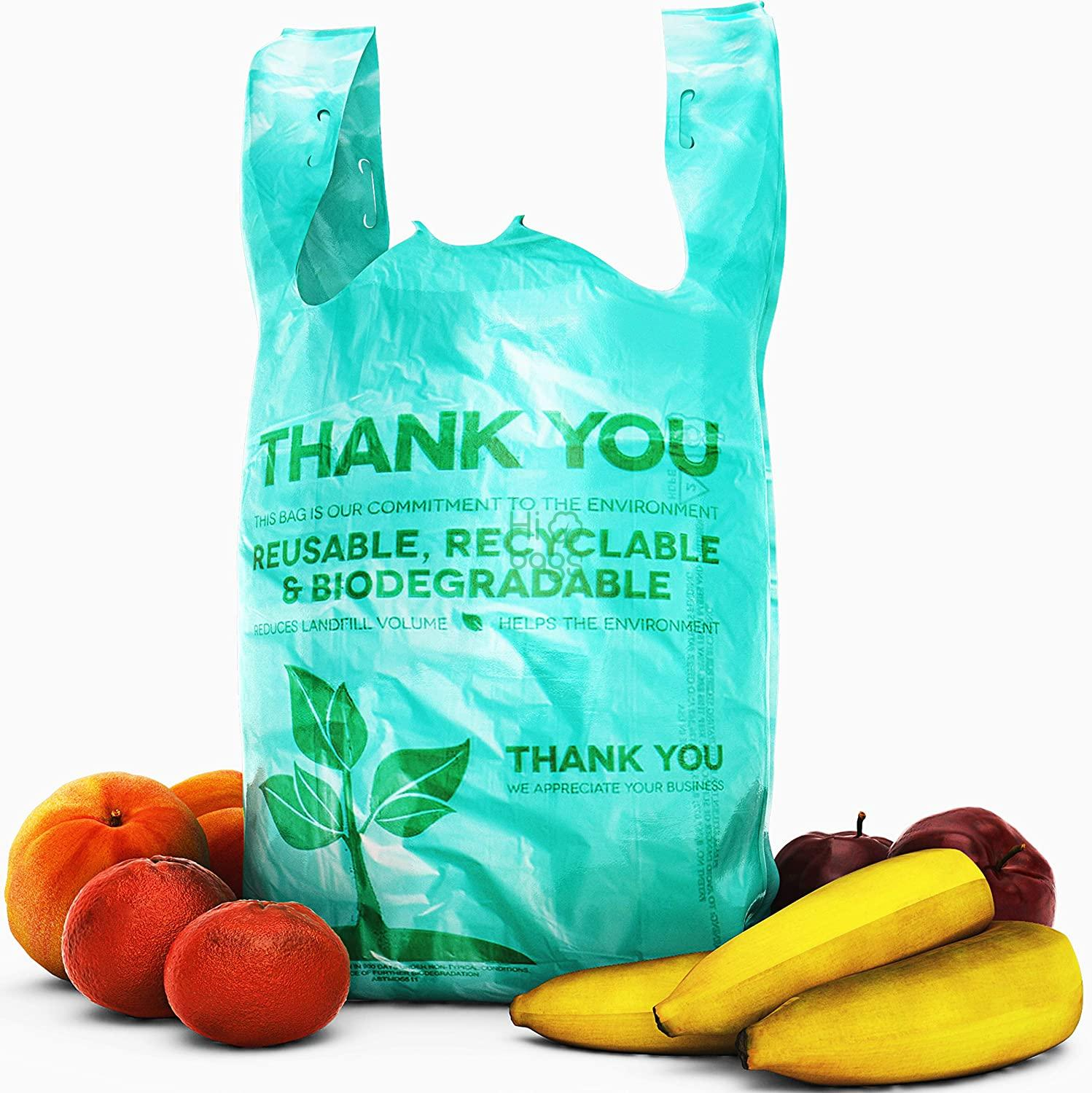 Biodegradable Plastic Grocery Bags Great Thick, Green Takeout Bags for Restaurants