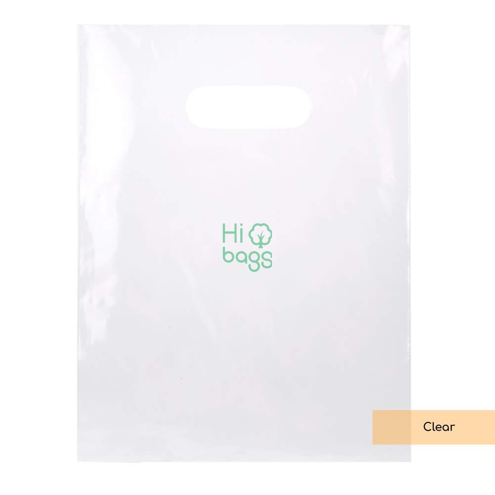 LDPE Solid Handle Bag with Die Cut Handles Tear Resistant Strength Clear Merchandise Bag M