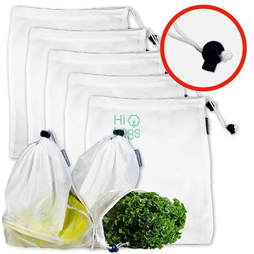 Reusable Mesh Produce Washable Premium See Through Lightweight Mesh Bags M
